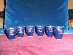 Retro kerámia likőrös pohár - 6 db