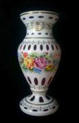 Hatalmas 44 cm-es Bieder / hántolt üveg / váza