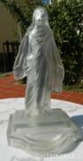 Antik ca. 100 éves  nagy üveg Jézus szobor , gyertyatart