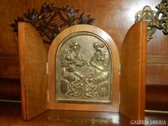 Képcsarnok -os zsűrizett réz ikonkép fa alapban