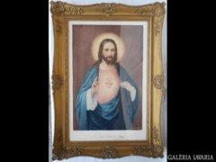 Y735 R1 Nagyméretű antik olajnyomat Jézus Krisztus