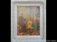 Y736 R1 Nagyméretű antik olajnyomat Fiatal Jézus