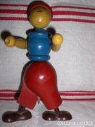 Retro, fából készült, vicces ceruza tartó figura