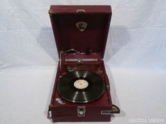 2813 C0 Antik hordozható lemezjátszó, gramofon