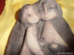 Anya gyermekével - kerámia falikép