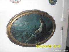 Régi szent kép ovális keretben 105 cm x 78 cm