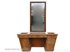 5515 Régi intarziás pipere asztal és tükör 70 x 14