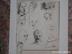 Jelzett, vegyes technikával portrék