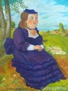 Botero követője: Lilaruhás nő, festmény