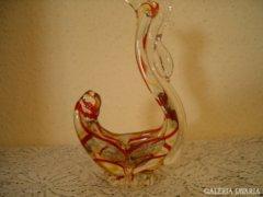 Muranoi üveg jellegű kakas kínáló 21 cm