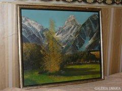 Tájkép J.A. Campbell Olaj Farost Festmény 66x56 cm