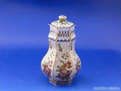 8554 Antik tűzzománc fedeles réz váza