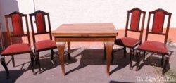 6589 Régi neobarokk asztal + 4 db szék garnitúra
