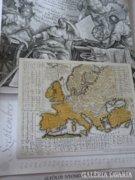 Különleges, Európa-térképekkel illusztrált régi naptár
