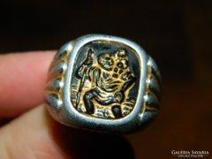 Antik alumínium ? gyűrű - Szent Kristóf védőszenttel