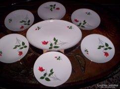 Rózsabimbós,régi süteményes készlet, 7 db-s