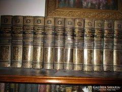 KÖNYVTÁR dísz aranyozott bőrkötés német lexikon  12 db