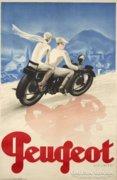 Art deco Peugeot motorbike poszter reprodukció.