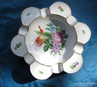 Herendi porcelán virágos nagy hamutartó/hamutál masszív dara