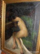 Krivátsy Szücs György festménye:  Ülő Akt c.