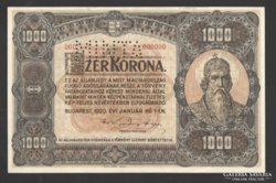 1000 korona 1920. 000000-ás MINTA!  aUNC! RITKA!
