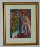 Kádár Béla festmény : nő macskával