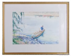 0C207 Jelzett akvarell horgász 1975-ből