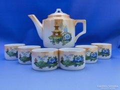 0C626 Régi pagodás Zsolnay porcelán teáskészlet