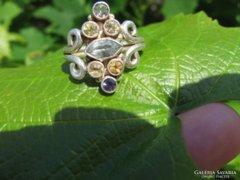 Topáz-citrin-cirkon-ametiszt 925 ezüstgyűrű