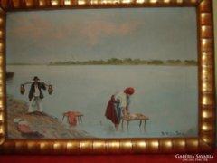 S.Kiss Ida olaj vászon festmény szép keretben