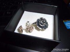 Kézműves ezüst szett /gyűrű, fülbevaló,medál/