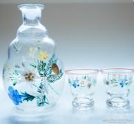 Retro festett üveg pálinkás üveg szett