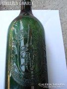 Régi zöld felíratos boros üveg