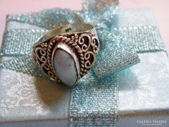 Kézműves,Larimar köves,925-ös ezüst gyűrű
