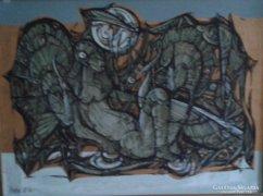 Xantus Gyula: Hiúság  (1986)- akril, farostlemez, 60x80 cm