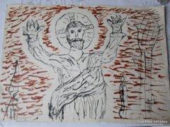 Reich Károly : MEGVÁLTÓ illusztráció 1968, 44 X 31
