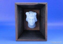 0D560 Régi gipsz fej arckép fa keretben