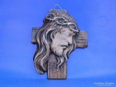 0D670 Kerámia Krisztus fej vallási kegytárgy