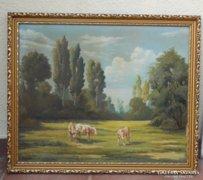 Csákváry Gy - Legelésző tehenek - nagyméretű festmény