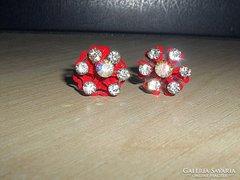 Swarovski kr. Vörös Rózsa kézműves fülbevaló