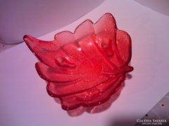 Színes üveg kínáló tálka,levél formájú