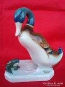 Royal Dux Kacsa Békával Figura,Szobor