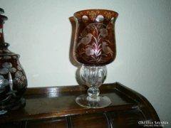 Antik életfa-madár mintával  cseh metszett üveg kehely 20 cm