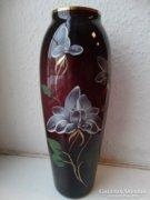 Kézzel festett cseh üvegváza, 30 cm magas, mélylila