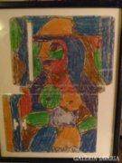 Cs. Németh Miklós festmény: Színes nő pasztell
