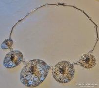 Szépséges antik filigrán nagyméretű ezüstnyakék