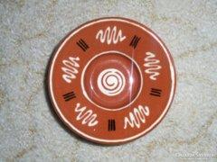 Népművészeti kerámia fali tányér - 10.2 cm átmérő