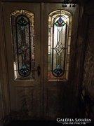Eladó beltéri dupla szárnyu egyedi terv,ólomüvegbetétes ajtó