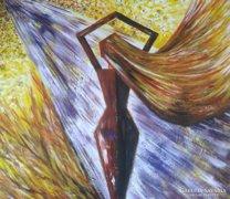 Magabiztos nő - absztrakt, akril, 91cm x 91cm, vászon