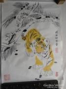 Kínai tigris cica tusfestmény rizspapíron akvarell pecsét